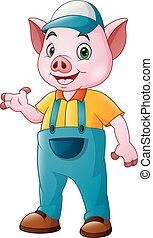 carino, contadino, cartone animato, maiale