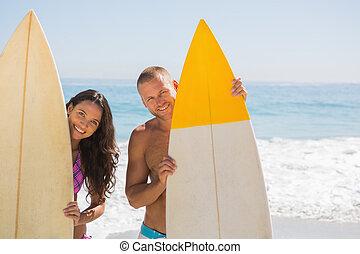 carino, coppia, giovane, loro, presa a terra, surfboad