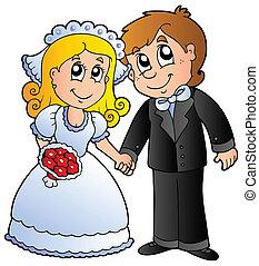 carino, coppia, matrimonio