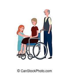 carino, coppia, nipote, carrozzella, nonni
