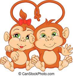 carino, coppia, scimmia, cartone animato