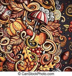 carino, cornice, mano, autunno, disegno, disegnato, doodles, cartone animato