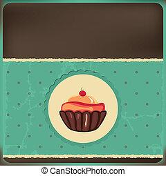 carino, cornice, retro, cupcake