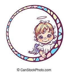 carino, cornice, vettore, illustrazione, angelo