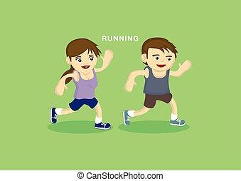 carino, correndo, bambini, esercizio