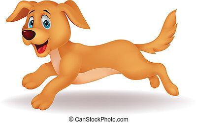 carino, correndo, cane, cartone animato