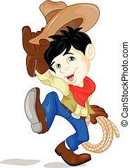carino, cowboy, cartone animato, capretto