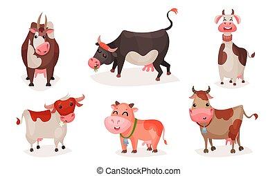 carino, cows., set, cartone animato, vettore, illustration.