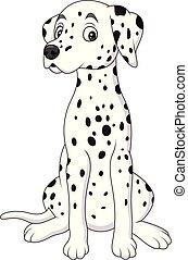 carino, dalmata, cartone animato, cane