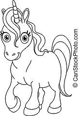 carino, delineato, unicorno