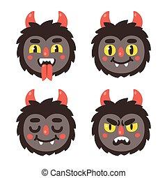 carino, demone, cartone animato, facce