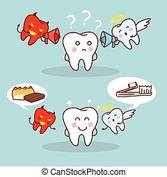 carino, denti, pensare, cartone animato