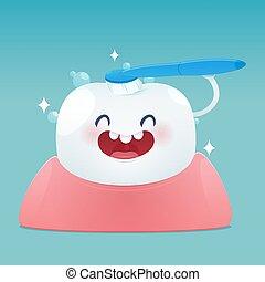 carino, denti puliscono, sorriso, felice, cartone animato, spazzola