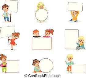 carino, differente, bambini, assi, set., bianco, ragazze, poco, ragazzi, vettore, presa a terra, vuoto, illustrazioni, manifesti, sorridente, pose, casuale, vuoto, vestiti