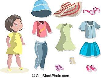 carino, differente, ragazza, scegliere, clothes.
