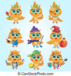 carino, differente, set, professions., vettore, owls., caratteri, cartone animato