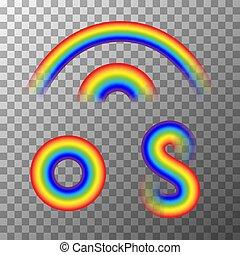 carino, differente, set, trasparente, arcobaleni