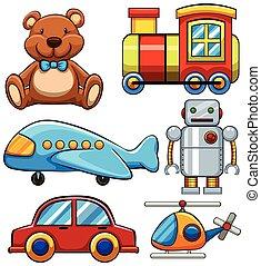 carino, differente, tipi, giocattoli