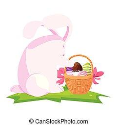 carino, dipinto, uova, coniglio, cesto, pasqua