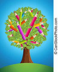 carino, disegno, albero, matita