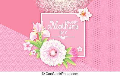 carino, disegno, on., madri, augurio, doccia, compleanno, ...