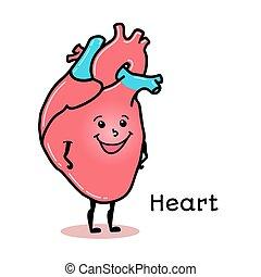 carino, divertente, carattere, cuore umano