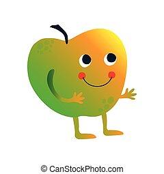 carino, divertente, dolce, mela, carattere, illustrazione, faccia, frutta, vettore, cartone animato
