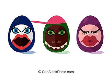 carino, divertente, uova pasqua