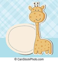 carino, doccia, giraffa, ragazza bambino, scheda