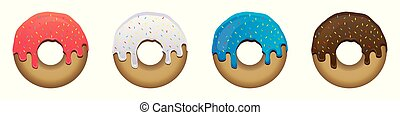 carino, dolce, backgrond, set, donuts, colorito, bianco