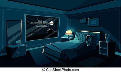 carino, donna, camera letto, giovane, in pausa, vettore, notte