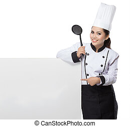 carino, donna, chef, presentare