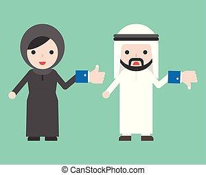 carino, donna, come, unlike, decistion, musulmano, uomo affari, bottone, arabo, concetto, scegliere, presa a terra, situazione, affari, o, fabbricazione
