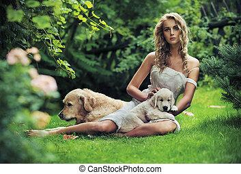 carino, donna, con, cani, in, bellezza, natura, scenario
