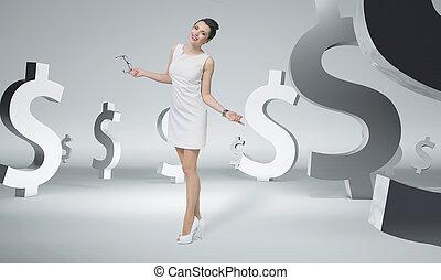 carino, donna d'affari, tra, segni dollaro