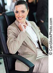 carino, donna d'affari, ufficio, seduta