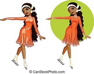 carino, donna, figura, giovane, americano, pattinatore, africano