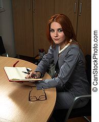carino, donna, giovane, ufficio