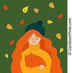 carino, donna, lei, illustrazione, gatto, arms., autunno, rosso