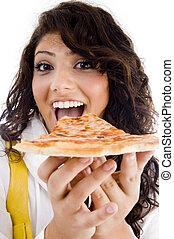 carino, donna mangia, delizioso, pizza