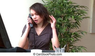 carino, donna parlando, telefono
