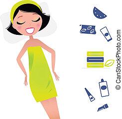 carino, donna rilassa, bellezza, items., illsutration, vettore, retro, terme, style.