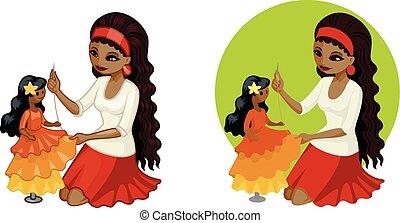 carino, donna, veste, bambola, cucito, giovane, hobbyist, americano, africano, principessa