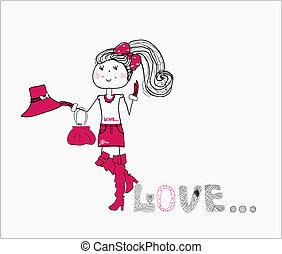 carino, dress., amore, viola, v, ragazza