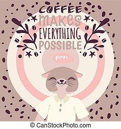 carino, drink., beans., illustration., possible., marche, circondato, carattere, caffè, dipendenza, gatto, t-shirt, tutto, caldo, vettore, amori, bianco, godere, bandiera, cartone animato