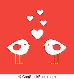carino, -, due, valentina, cuori, uccelli, giorno, scheda