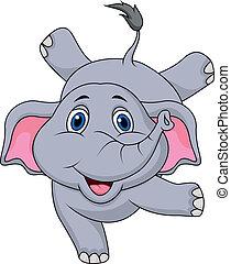 carino, elefante, cartone animato, circo