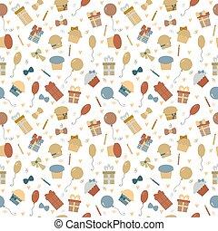carino, elements., colorito, divertente, modello, seamless, compleanno, disegno, fondo, festa, tuo, felice