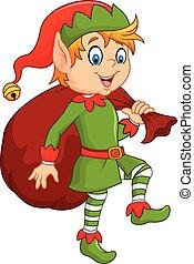 carino, elfo, cartone animato, sacco