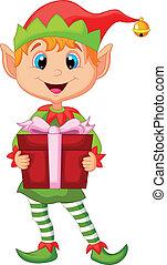 carino, elfo, natale, presa a terra, cartone animato